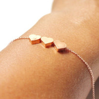 Three SIsters Bracelet,Three Heart Bracelet.3 Pink Heart Bracelet. 3 Best Friends, Mom Of Twin.Mother Of 2 Son 2 Daughter,Rose Gold Heart