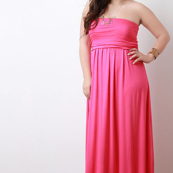 Solid Strapless Maxi Dress