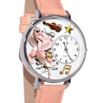Whimsical Watches Designed Painted Ballet Shoes Pink Leather And Silvertone Watch