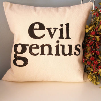 Evil Genius Pillow Cover by JoshuaByOak on Etsy