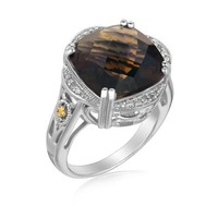 18K Yellow Gold and Sterling Silver Smokey Quartz and Diamond Ring P150-57642-7