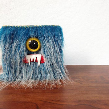 Blueberry Frost Cyclops Monster Wallet- One Yellow Eye