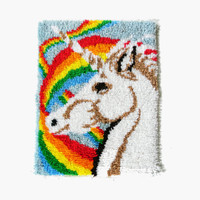 Vintage Unicorn and Rainbow Latch Hook Rug Shag Rug