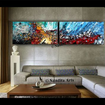 "Abstract Painting Wall Art Gallery 96"" Palette Knife Painting on Canvas by Nandita, Modern Wall Art, Red, Blue, Large Artwork Fast shipping"