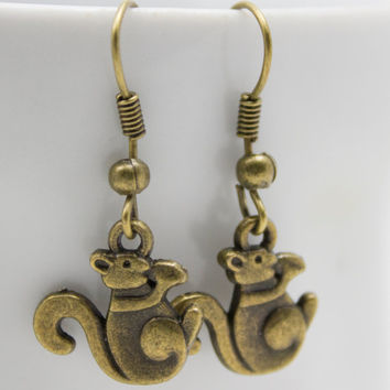 Tiny Bronze Squirrel Earrings