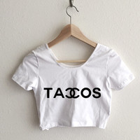Tacos Couture Fashion Print Women's Crop Top