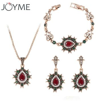 Brand Costume Vintage Wedding Turkish Jewelry Gold-Color Necklace Jewellery Set Tibet Birthday Gift For Women New