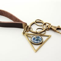 Planet Keychain- Blue Marble Earth- Brass Galaxy Pendant Key Chain