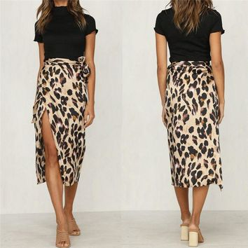 New arrival Women Leopard Skirt Slim Wrap Asymmetric Bandage Lace Up Side Split Gypsy Drape Bodycon Slit Midi Skirts Jupe Mujer