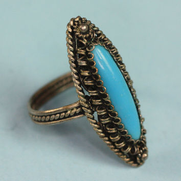 Silver Cannetille Ring Turquoise Lucite Cabochon Vintage Size 7.5/P