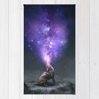All Things Share the Same Breath (Coyote Galaxy) Rug by Soaring Anchor Designs