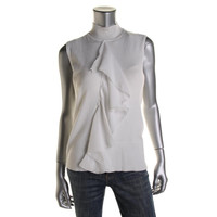Cable & Gauge Womens Knit Ruffled Mock Turtleneck Sweater