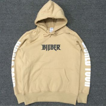 Justin Bieber autumn and winter tide brand velvet hooded sweater men and women lovers