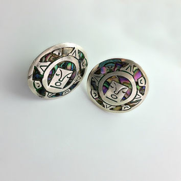 Native American Earrings - Vintage Taxco Screw Back Earrings - Abalone & Sterling Earrings - Large Round Earrings - Face Earrings