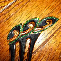 Vintage Hair Comb Embedded Green Rhinestones Art Deco Style