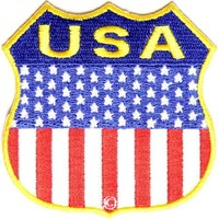 "Embroidered Iron On Patch - USA American Flag Shield 2.75"" x 2.75"" Patch"