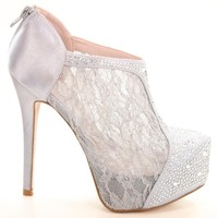 Nelson26 Silver Lace Women Rhinestone Stiletto High Heel Platform Pump-8