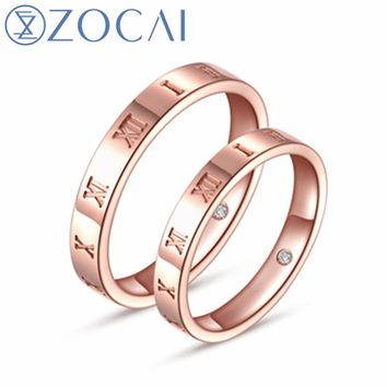 ZOCAI Brand new the love of time 18K rose gold 0.01 CT certified diamond wedding couple ring free engrave