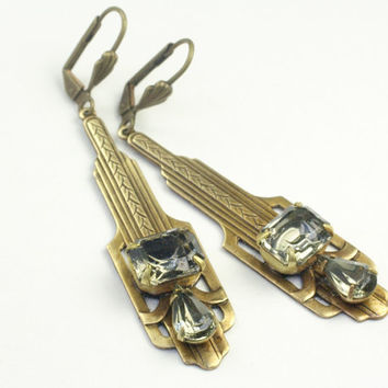 Gatsby earrings art deco brass black diamond rhinestone grey vintage style
