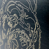 Wood Engraved Gorilla Picture - King Kong Wood Carving - Gorilla Art - Unique Gift for Him - Man Cave Decor - Minimalist Art - Wooden Art