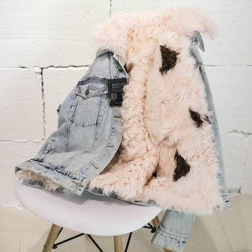 Winter Jacket Women 2017 Brand Parkas Natural Lamb Fur Liner Coat Denim Jeans Winter Real Pink Fur Lining Female Jacket Overcoat
