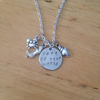 Part of Your World Ariel Hand Stamped Pendant Charm Necklace, Ariel Necklace, Little Mermaid Necklace