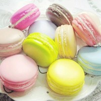1PC Color Random Kawaii Soft Dessert Macaron Cute Charms Relieve Stress Toy