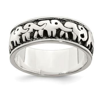 925 Sterling Silver Polished and Antiqued Elephants Ring