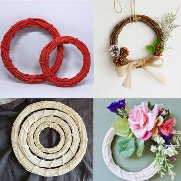 10/15/20/25/30cm Christmas Wedding Wreaths Decoration Garland Material Rattan Wreath DIY Wreath Party Decoration 7A0432