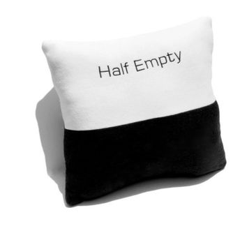 Half Full or Half Empty Black and White by YellowBugBoutique
