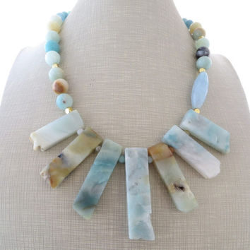 Amazonite necklace, chunky stone necklace, big bold necklace, light blue gemstone choker, rustic jewelry, contemporary jewelry, gioielli