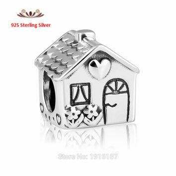 Fits Pandora Bracelets Silver Sweet Home Charm Beads Original 925 Sterling Silver Love