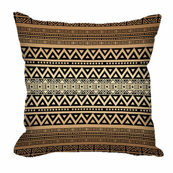 Tribal Pattern Throw Pillow in mocha brown and tan