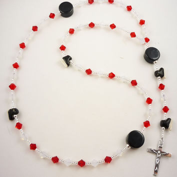 Hockey First Communion Rosary, Prayer Beads, Pucks & Skates, Gift for Boys/ Girls with Swarovski Crystals & Sterling Silver Cross