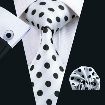 Men`s Tie Polka Dot Jacquard Woven 100% Silk Brand Tie + Hanky + Cufflinks Set For Wedding Business Party Free Postage LS-1057