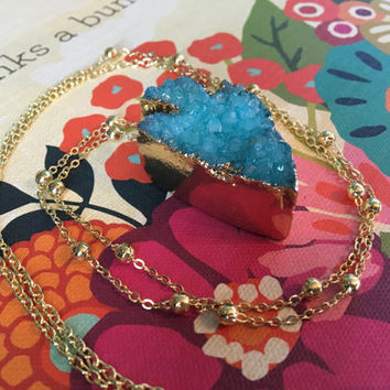 Blue Druzy Arrowhead Necklace on Gold Station Chain
