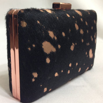 In stock-Rose Gold Frame with Black hair hide and matching Rose Gold metallic splatter