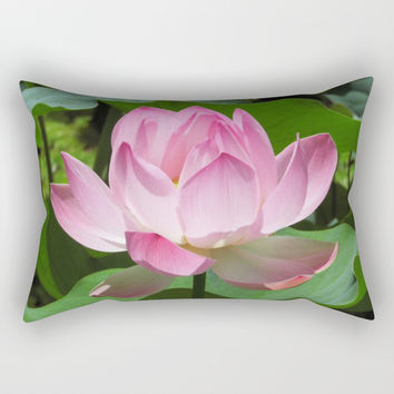 Pink Lotus Bloom Rectangular Pillow by bluedarkatlem