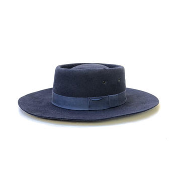 Vintage 1980s 'Bardsley' navy blue, fur felt prospector hat with flat top and matching grosgrain ribbon band / Made in Australia