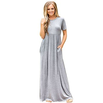 Gray Short Sleeve Ruched Waist Maxi Dress