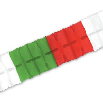 Packaged Leaf Garland - Red, White, Green - 24 Units