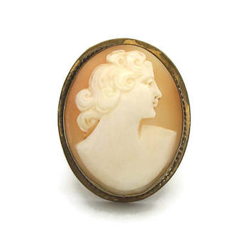 Vintage Genuine Carved Shell Cameo Brooch Pendant - Early to Mid Century Hand Carved Raised Relief Cameo Pin - Gold Tone Setting -