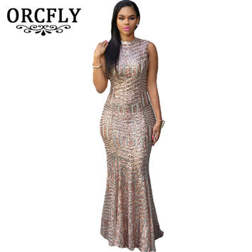 Orcfly Luxurious Blush Sequins Keyhole Back Party Gown Summer Sleeveless Floor Length Maxi Dresses 60881 robe longue de soiree