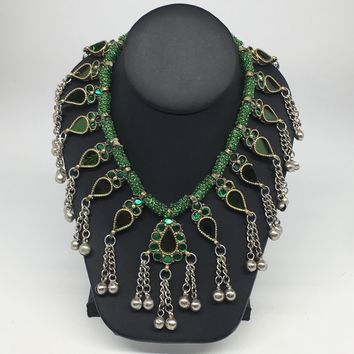 Big Kuchi Tribal Necklace Afghan Ethnic Green Color Glass Jingle bell Necklace NK29