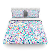 "Miranda Mol ""Kaleidoscopic White"" Aqua Abstract Cotton Duvet Cover"