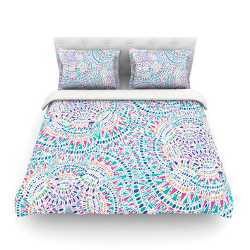 "Miranda Mol ""Kaleidoscopic White"" Aqua Abstract Featherweight Duvet Cover"