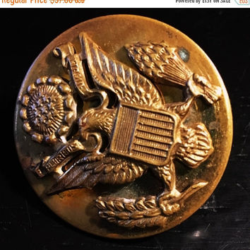 5 DAY SALE (Ends Soon) Vintage WWII Us Army Military Hat Brass Eagle Badge Insignia