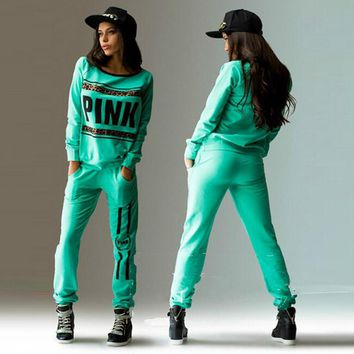Women Vs Pink Hoodie Set Brand Tracksuit Two Piece Sweatshirt Suits