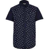 River Island Boys navy hashtag shirt