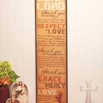 "Wall Plaque Sign Inspirational Family Prayer Large 30"" Respect Love Grace Mercy"